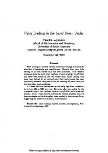 Pairs Trading in the Land Down Under - SSRN