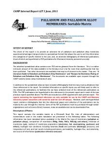 PALLADIUM AND PALLADIUM ALLOY MEMBRANES ...