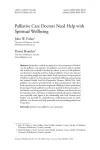 Palliative Care Doctors Need Help with Spiritual Wellbeing