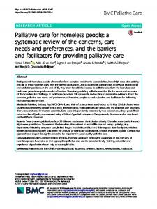 Palliative care for homeless people: a ... - BMC Palliative Care