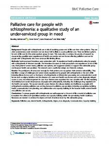 Palliative care for people with schizophrenia: a ... - BMC Palliative Care