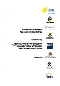 Palliative Care Needs Assessment Guidelines