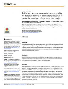 Palliative care team consultation and quality of death and ... - PLOS