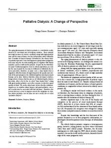 Palliative Dialysis: A Change of Perspective