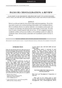 PALM OIL CRYsTALLIsATIOn: A REVIEW - Journal of Oil Palm