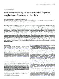 Palmitoylation of Amyloid Precursor Protein ... - Semantic Scholar