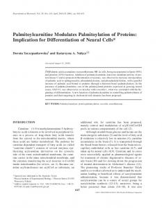 Palmitoylcarnitine Modulates Palmitoylation of Proteins ... - Springer Link