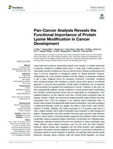 Pan-Cancer Analysis Reveals the Functional