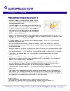 PANCREATIC CANCER FACTS 2013