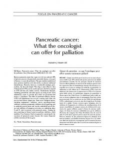 Pancreatic cancer: What the oncologist can offer for palliation - Hindawi