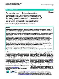 Pancreatic duct obstruction after pancreaticojejunostomy - BMC ...