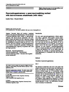 Pancreaticogastrostomy: a pancreas-transfixing method with duct-to ...
