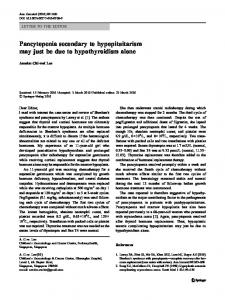 Pancytopenia secondary to hypopituitarism may just be due to ...