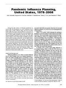 Pandemic Influenza Planning, United States, 1978–2008 - Centers for ...