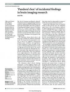 'Pandora's box' of incidental findings in brain imaging research