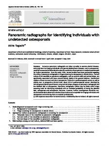 Panoramic radiographs for identifying individuals with ... - CyberLeninka