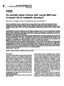 PAPER Do centrally obese Chinese with normal BMI have ... - Nature