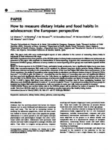 PAPER How to measure dietary intake and food habits in ... - EXERNET