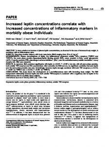 PAPER Increased leptin concentrations correlate with ... - Nature