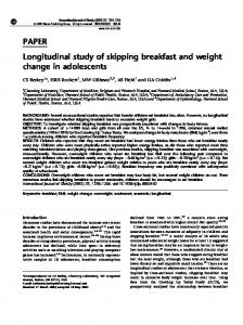 PAPER Longitudinal study of skipping breakfast and weight ... - Nature