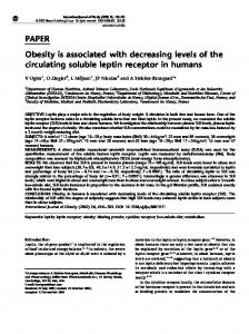 PAPER Obesity is associated with decreasing levels of the ... - Nature
