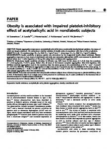 PAPER Obesity is associated with impaired platelet-inhibitory ... - Nature