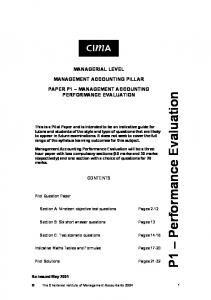 Paper P1 Management Accounting Performance ... - FreeExamPapers
