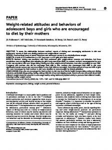 PAPER Weight-related attitudes and behaviors of adolescent boys
