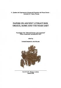 papers on ancient literatures: greece, rome and the near east