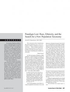 Paradigm Lost: Race, Ethnicity, and the Search for a New ... - NCBI - NIH