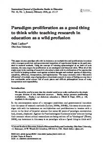 Paradigm proliferation as a good thing to think with - CiteSeerX