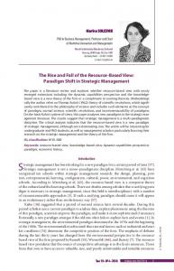 Paradigm Shift in Strategic Management