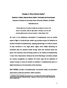 Paradox in Wave-Particle Duality - Semantic Scholar