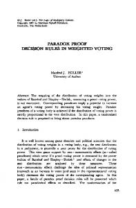 paradox proof decision rules in weighted voting - Springer Link