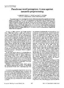 Parafoveal word perception: A case against semantic ... - Springer Link