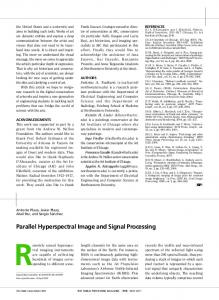 Parallel Hyperspectral Image and Signal Processing - UMBC