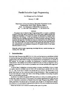 Parallel Inductive Logic Programming 1 Introduction - CiteSeerX