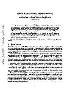 Parallel inversion of huge covariance matrices