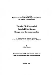 Parallel Multithreaded Satisfiability Solver: Design and ...