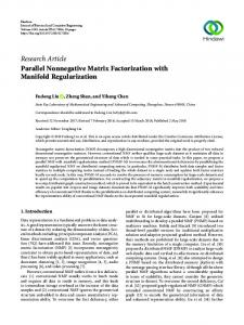 Parallel Nonnegative Matrix Factorization with Manifold Regularization