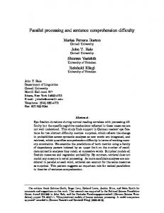 Parallel processing and sentence comprehension ... - Cornell University