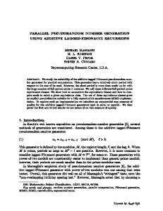 Parallel Pseudorandom Number Generation Using Additive Lagged ...