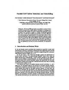 Parallel SAT Solver Selection and Scheduling - Semantic Scholar