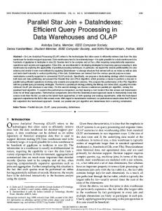Parallel star join + dataindexes: efficient query processing in data war ...