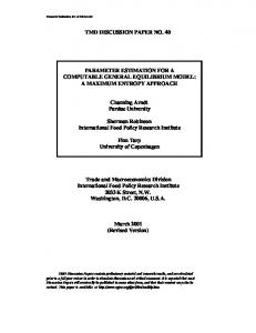 Parameter Estimation for a Computable General Equilibrium Model ...