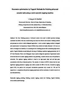 Parameter optimization by Taguchi Methods for ... - Semantic Scholar