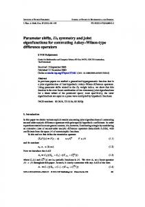 Parameter shifts, D4 symmetry and joint eigenfunctions for commuting ...