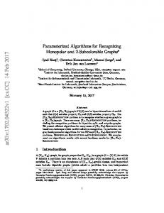 Parameterized Algorithms for Recognizing Monopolar and 2 ...