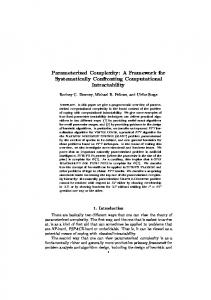 Parameterized Complexity: A Framework for ... - Semantic Scholar