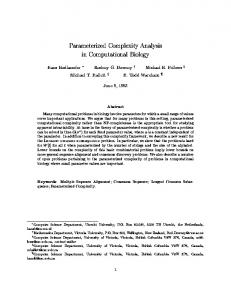 Parameterized Complexity Analysis in ... - Semantic Scholar